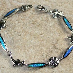 Blue Fire Opal Bracelet Sea Animal Turtle Dolphin